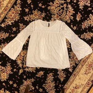 Loft Bell Sleeve Embroidered/ Eyelet Blouse